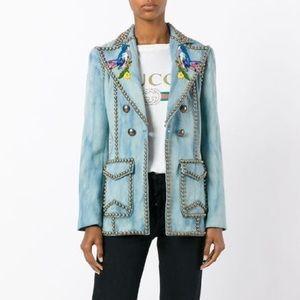 Gucci Runway 2017 Embroidered Studded Denim Blazer